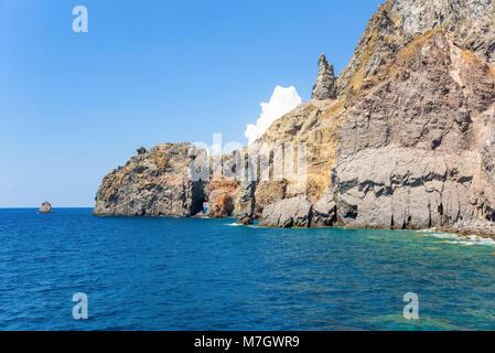 Rock formations at the coast of Lipari Island, Aeolian Islands, Italy - Stock Photo