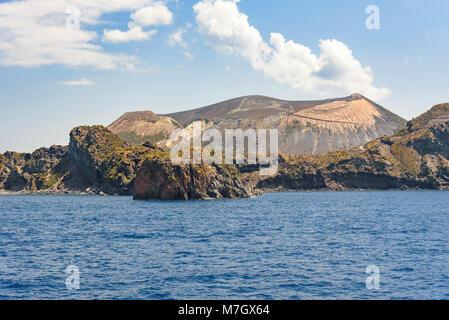 Vulcano Island seen from the sea, Aeolian Islands, Italy - Stock Photo