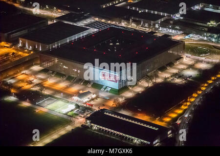 Aerial view, The Esprit Arena in Stockum, Fortuna's play area, Esprit Arena, Night shot, Duesseldorf, Rhineland, - Stock Photo