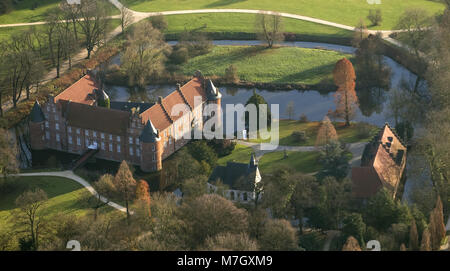 Aerial view, Schloss Herten, moated castle in the baroque gardens, Herten, Ruhr area, North Rhine-Westphalia, Germany, - Stock Photo
