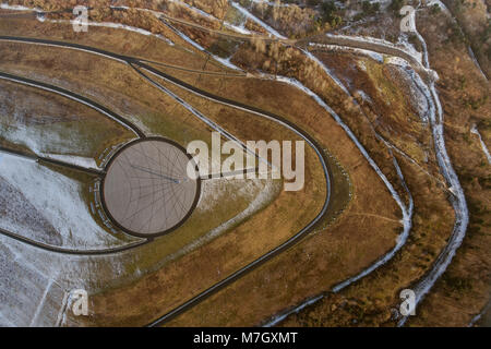 Aerial view, Hoheward, sundial, horizon observatory, Herten, Ruhr area, North Rhine-Westphalia, Germany, Europe, - Stock Photo