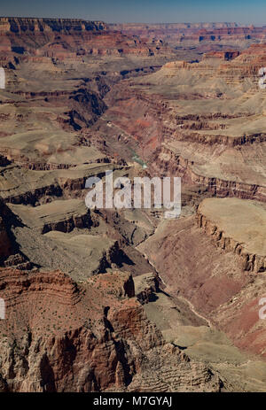 Looking west along Seventyfive Mile Creek from Lipan Point, Grand Canyon South Rim, Arizona, USA - Stock Photo