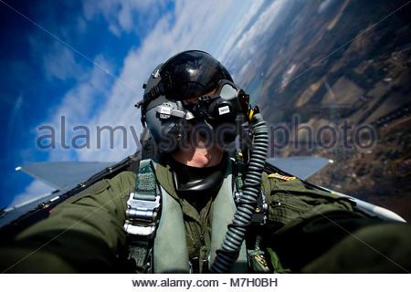 US Air Force Staff Sgt Michael Keller. U.S. Air Force Staff Sgt. Michael Keller documents a Boeing F-15E Strike - Stock Photo