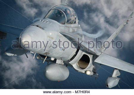 Finnish McDonnell Douglas FA-18 Hornet. The author is Peng Chen from Granada, Spain - Stock Photo
