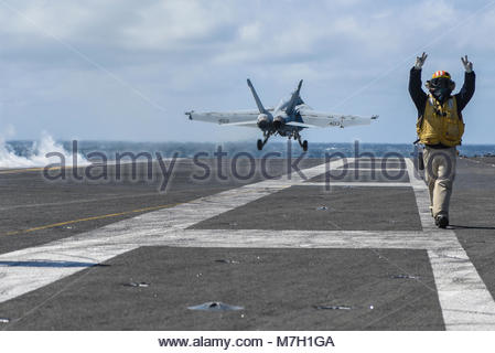 Boeing FA-18E Super Hornet. OF JAPAN (June 2, 2017) An F/A-18E Super Hornet, from the Dambusters of Strike Fighter - Stock Photo