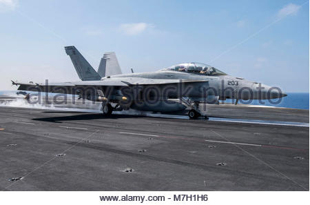 Boeing FA-18F Super Hornet. MEDITERRANEAN SEA (June 6, 2017) An F/A-18F Super Hornet attached to the 'Blacklions' - Stock Photo
