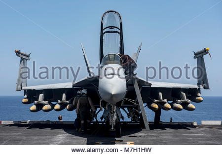 Boeing FA-18F Super Hornet. MEDITERRANEAN SEA (June 7, 2017) An F/A-18F Super Hornet attached to the 'Blacklions' - Stock Photo
