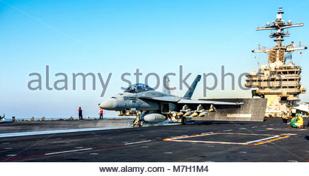 Boeing FA-18F Super Hornet. MEDITERRANEAN SEA (June 23, 2017) An F/A-18F Super Hornet attached to the 'Blacklions' - Stock Photo