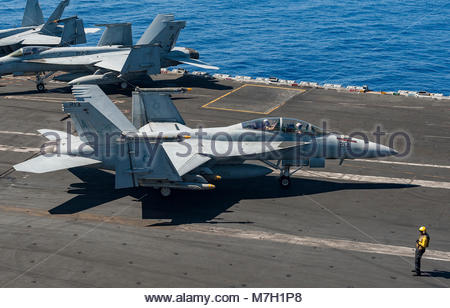 Boeing FA-18F Super Hornet. MEDITERRANEAN SEA (July 9, 2017) An F/A-18F Super Hornet assigned to the 'Blacklions' - Stock Photo