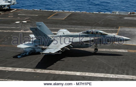 Boeing FA-18F Super Hornet. MEDITERRANEAN SEA (July 12, 2017) An F/A-18F Super Hornet attached to the 'Blacklions' - Stock Photo