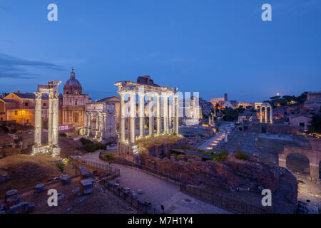 Dusk view of Roman Forum looking East, Rome, Italy - Stock Photo