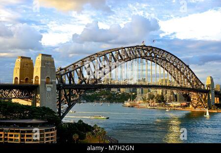 Bridge over harbor in Sydney, Australia - Stock Photo
