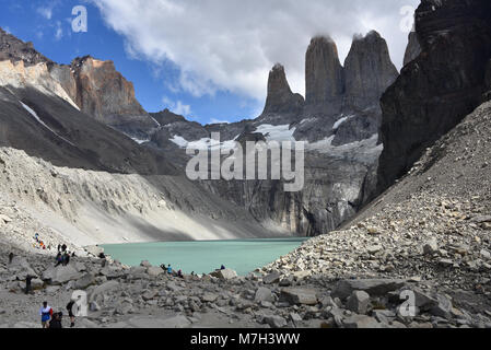 Base of the Towers (Base Las Torres), Torres del Paine National Park, Chilean Patagonia - Stock Photo