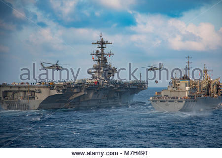 USS George HW Bush (CVN 77). MEDITERRANEAN SEA (June 14, 2017) Two MH-60S Sea Hawk helicopters assigned to the 'Tridents' - Stock Photo