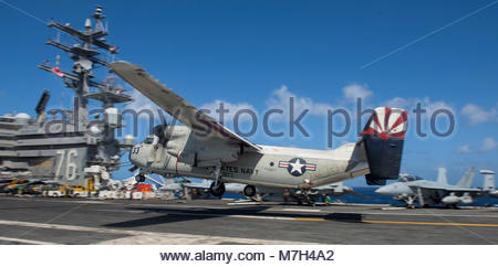Northrop Grumman C-2A Greyhound. PACIFIC OCEAN (July 3, 2017) A C-2A Greyhound assigned the 'Providers' of Fleet - Stock Photo