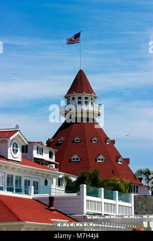 View from the beach of the historic Hotel del Coronado,California,America. - Stock Photo