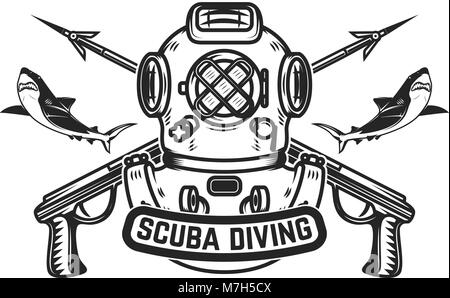 Emblem Template With Old Style Diver Helmet And Underwater Guns Design Element Scuba Diving