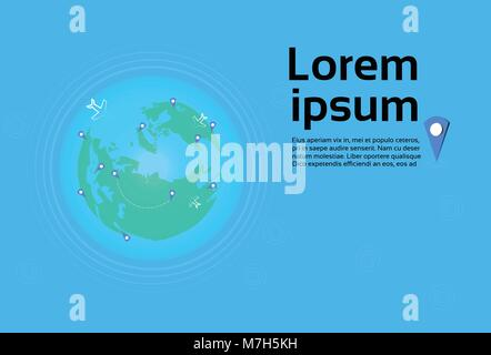 Planes Flying Over World Map With Pointers Travel Destinations Concept Template Banner - Stock Photo