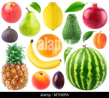 Isolated collection of fresh fruits. Apple, pear, lemon, orange, banana, pineapple, fig, peach, plum, avocado, pomegranate, - Stock Photo
