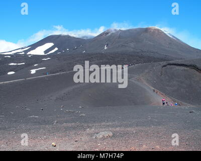 ETNA summit at Sicily in Italy with touristis, panoramic landscape of lava and massif of mount - Stock Photo