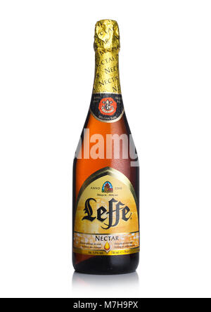 LONDON, UK - MARCH 10, 2018 : Cold bottle of Leffe Nectar beer on white background.Leffe is made by Abbaye de Leffe - Stock Photo