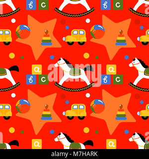 Seamless vivid pattern with children's toys