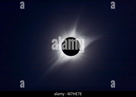 A composite of the August 21, 2017 total solar eclipse. - Stock Photo
