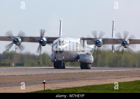 An-22 Antei heavy transport aircraft of the Russian Air Force taking off. - Stock Photo