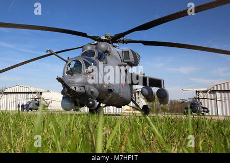 Mil Mi-35M attack helicopters of the Russian Air Force. - Stock Photo