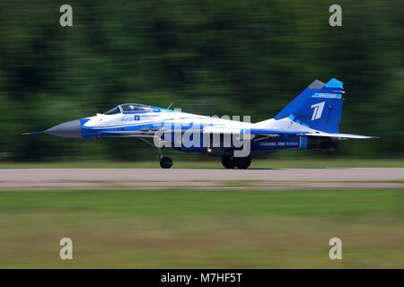 MiG-29 jet fighter landing, Zhukovsky, Russia. - Stock Photo