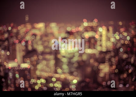 Big city lights bokeh background - Stock Photo