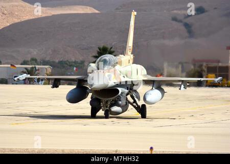 Israeli Air Force F-16I Sufa taxiing at Ovda Air Base, Israel. - Stock Photo