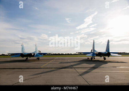 Two Ukrainian Air Force Su-27 Flankers on the tarmac. - Stock Photo