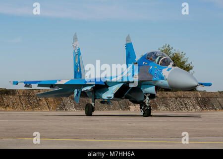 Ukrainian Air Force Su-27UB Flanker doubleseater. - Stock Photo