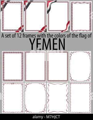 Set of 12 frames with the colors of the flag of Yemen - Stock Photo