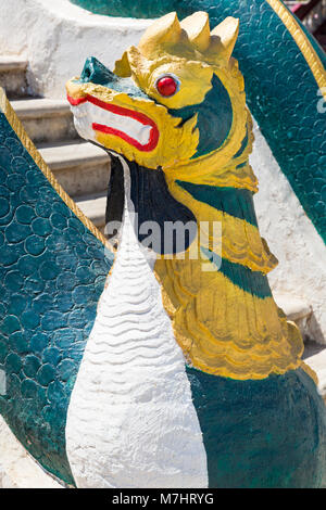 detail of statue on entrance to Shwe Yan Pyay monastery, Shwe Yaunghwe Monastery, Nyaungshwe, Inle Lake, Myanmar - Stock Photo