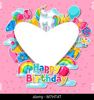 Happy birthday. Card with unicorn and fantasy items - Stock Photo