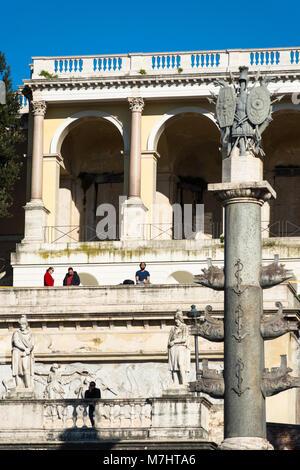 Italy, Lazio, Rome, Piazza del Popolo Square, Pincio Terrace, Fountain Goddess Roma between Tiber and Aniene River - Stock Photo
