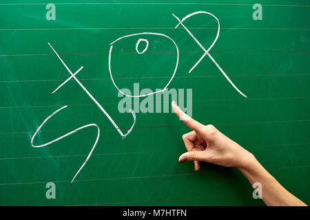 Right hand of a young girl pointing at the word STOP written on the green school board background - Stock Photo