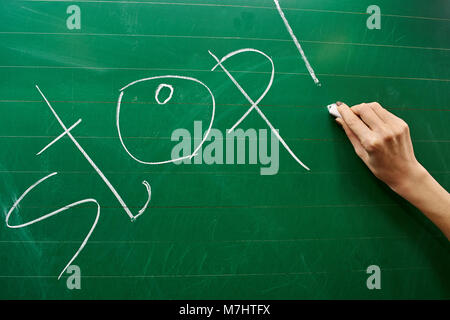 Right hand of a young girl writing the word STOP on the green school board with a white chalk background - Stock Photo