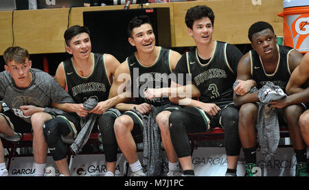 Albuquerque, NM, USA. 10th Mar, 2018. Hope's beach counts down the last second of their game as they beat Bernalillo 81-52 for the 4A championship. Saturday, March. 10, 2018. Credit: Jim Thompson/Albuquerque Journal/ZUMA Wire/Alamy Live News