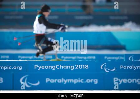 Pyeongchang, South Korea. 10th Mar, 2018. General view Biathlon : Women's Short 6km Sitting at Alpensia Biathlon - Stock Photo