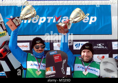 Moscow, Russia. 11th Mar, 2018.  Omar Visintin (L) and Emanuel Perathoner of the first-placed Italy 1 team pose - Stock Photo