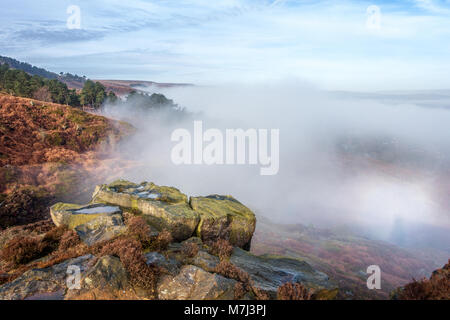 UK Weather: Ilkley, West Yorkshire, UK. 11th March 2018.  Unusual weather phenomenon out of the mountains - A brocken - Stock Photo