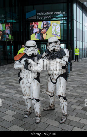 Liverpool, UK. 11th March 2018. Liverpool Comicon, a meeting of heroes, villains, games and merchandise, held at - Stock Photo