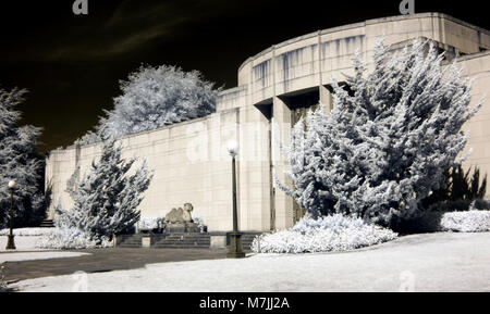Infrared image of Seattle Asian Art Museum entrance, Volunteer Park, Seattle - Stock Photo