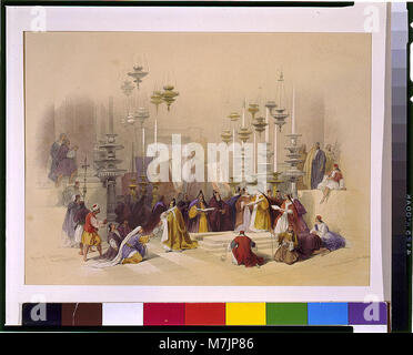 The Stone of Unction Holy Sepulchre March 30th 1839 - David Roberts. LCCN2002717467 - Stock Photo
