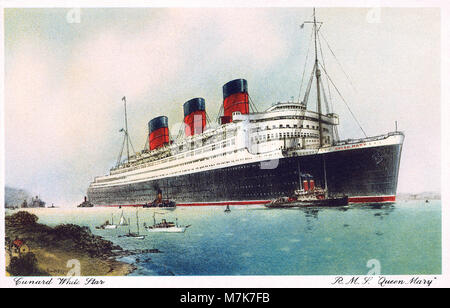 Vintage postcard of the Cunard ocean liner RMS Queen Mary. - Stock Photo