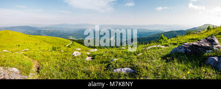 panoramic view from the hillside. beautiful mountain Carpathian landscape - Stock Photo