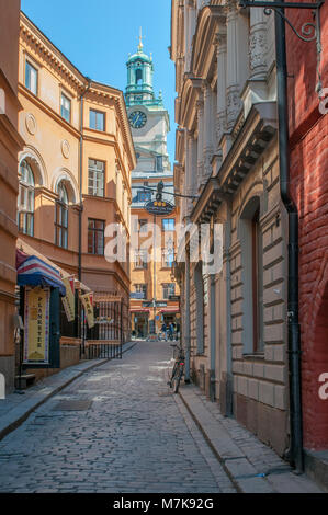 The Old Town of Stockholm. The historic medieval Old Town is a major tourist attraction in Stockholm. - Stock Photo
